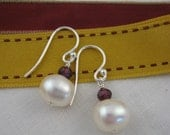 15% off. garnet and pearl earrings. silver.