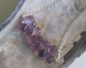 amethyst briolettes on sterling silver. necklace. february birthstone. gift for her. last one.