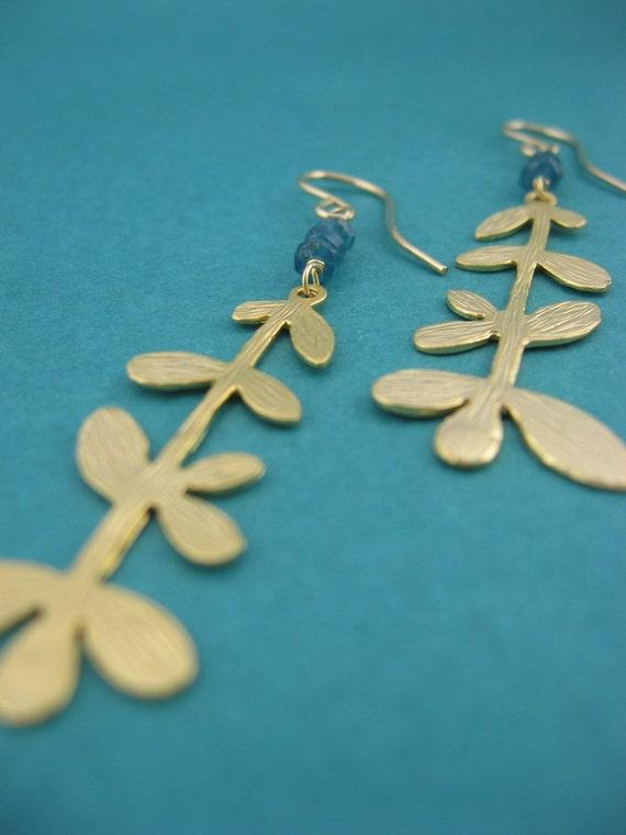 indicolite heishis on matte golden willow pendants. earrings. gift for her.