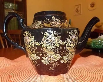 Black Handpainted Teapot, Made in England, AS IS (no lid)