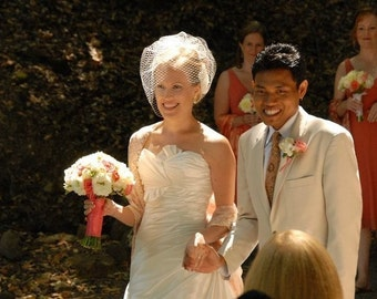 Beautiful Full Birdcage Veil as seen in the StyleMePretty wedding blog-- Ready to Ship