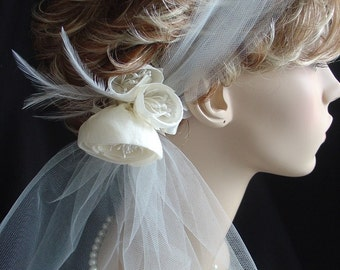 Retro-Tulle Headband with Small Cabbage Rose Fascinator