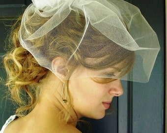 Bridal Veil, Wedding Veil, Tulle Birdcage with Pouf -- Side-Swirl Birdcage Veil in TULLE