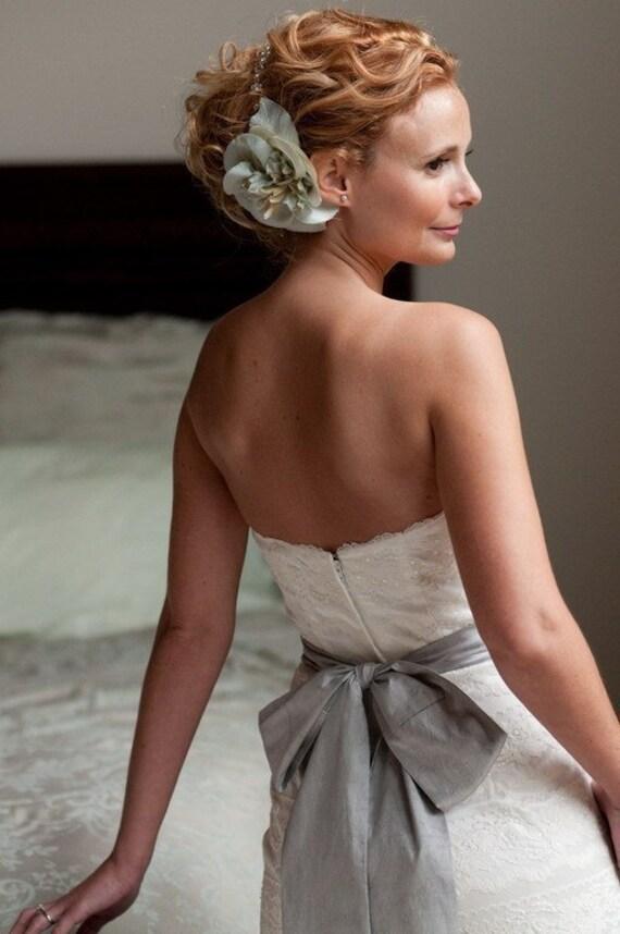 Gray Wedding Sash, Bridal Sash -- Long Satin ribbon Sash for Your Wedding Dress