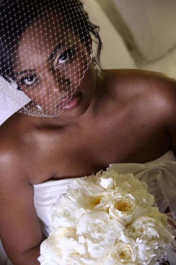 Ivory Bridal Full Birdcage Veil, or White Wedding Birdcage Veil - as seen in the StyleMePretty wedding blog