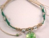 Narural and Green Hemp Choker with green Sunburst Pendant