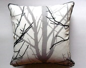 Branches in GRAY throw pillow cover