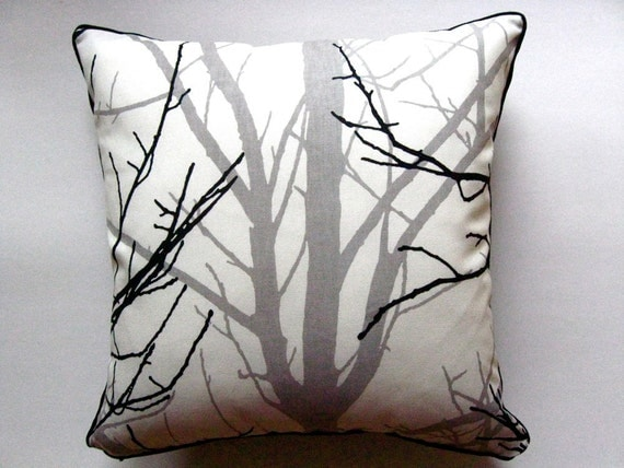 GRAY TREE throw pillow cover