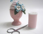 Pink Egg Cup Swirl Pincushion with Blue Flowers Handmade from Felted Wool and Cashmere
