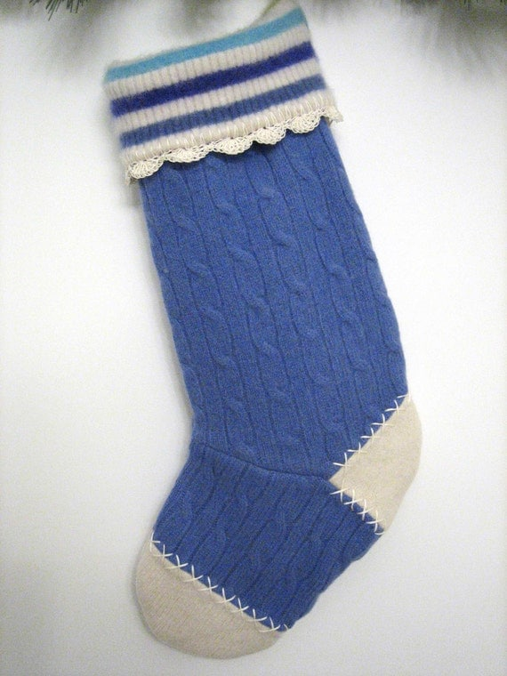 Periwinkle Blue Cable Knit Christmas Stocking By Mmwolters