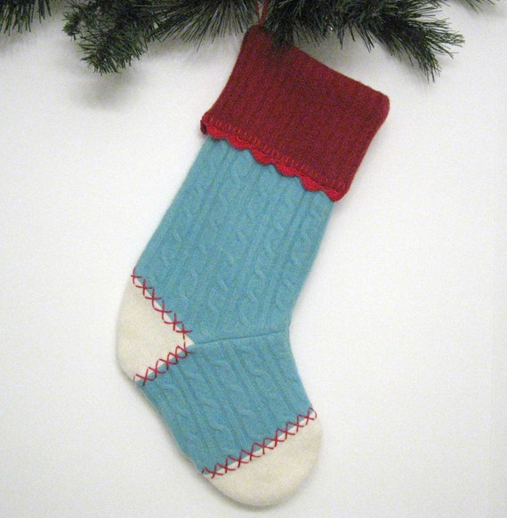 Turquoise Cable Knit And Red Christmas Stocking Handmade From