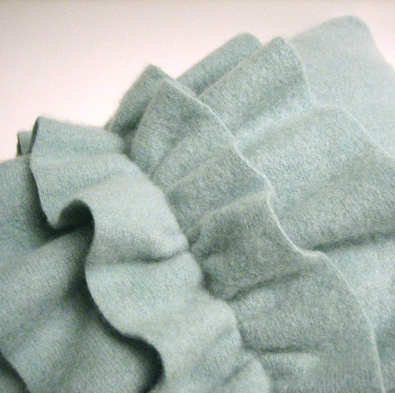 Light Aquamarine Green Cashmere Ruffle Toss Pillow Handmade from Felted Cashmere Sweaters 10x14 (no.113)