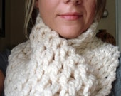 Handknit Cowl Infinity Scarf - WINTER WHITE