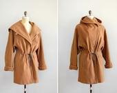 vintage OCHER wool convertible coat