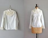 mod blouse / lace blouse / 60s blouse / Mod Ruffle Blouse
