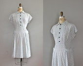 1940s dress / 40s day dress / Connected Medallion dress