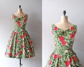 1950s dress / floral print 50s dress / Les Arts Florissants