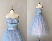 1950s dress / 50s strapless dress / Flutterby dress