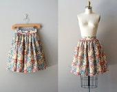 floral mini skirt / 70s full skirt / Floral Pouf skirt