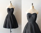 1950s dress / 50s black dress / strapless / La Nuit dress