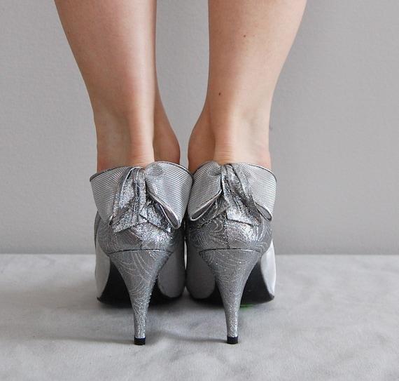 r e s e r v e d...vintage SILVER mesh bow heels by DearGolden