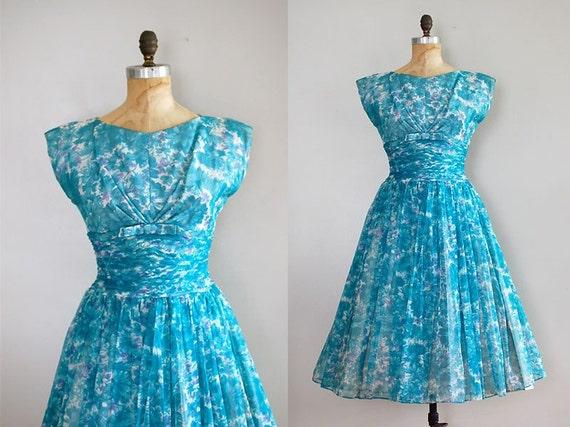 vintage 1950s Almost Heaven chiffon dress