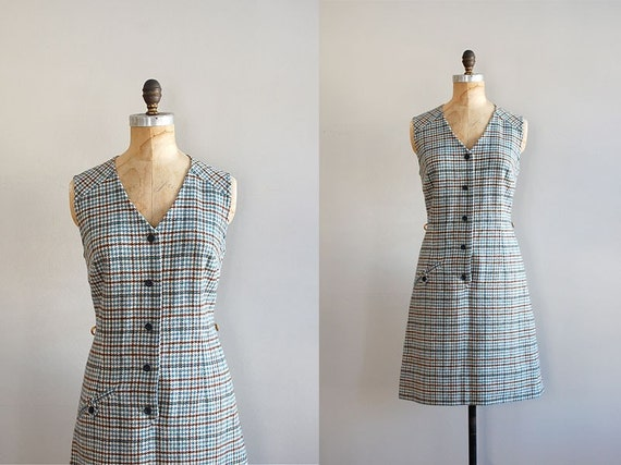 60s dress / plaid dress / plaid wool / Pendleton Houndstooth