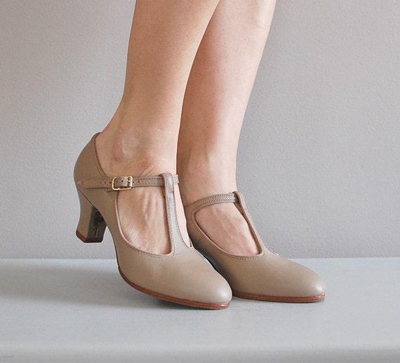vintage Nude Leather t-strap heels by DearGolden on Etsy
