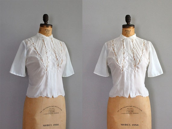 vintage 1950s blouse / lace top / Stitched History