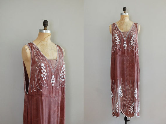 vintage 1920s Orchid Dye beaded dress