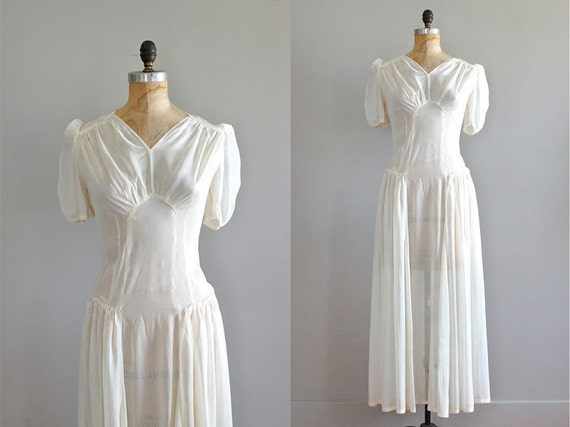 1930s Dress / 30s Wedding Dress / Remember Forever By