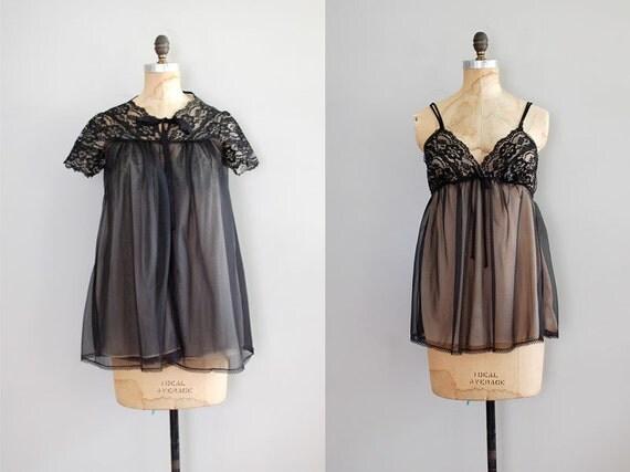 1960s lingerie / black lace / Black Peignoir Set