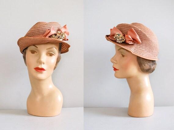 1930s hat / 30s hat / Straw Tilt hat