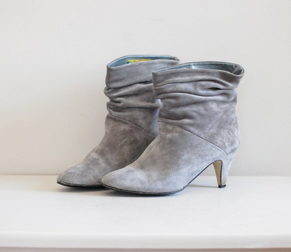 gray boots / suede boots / Slouchy ankle boots