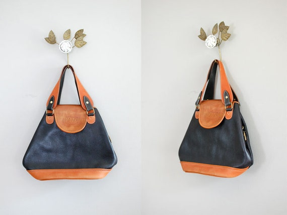 leather bag / two-tone / Black and Tan Satchel