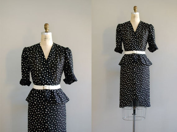 1980s dress / black & white / Two of Hearts dress