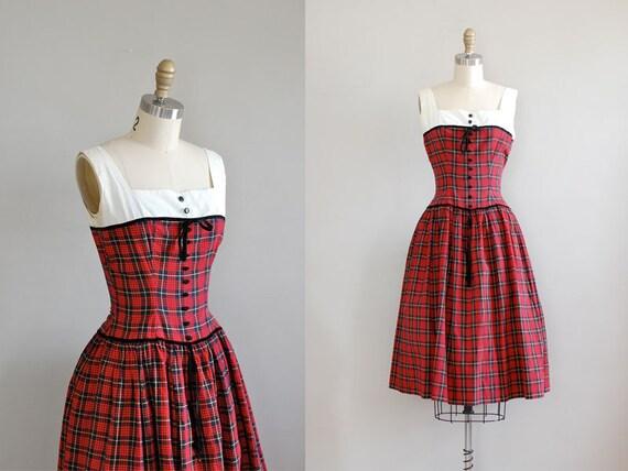 1950s dress / 50s plaid dress / Can Can Plaid dress