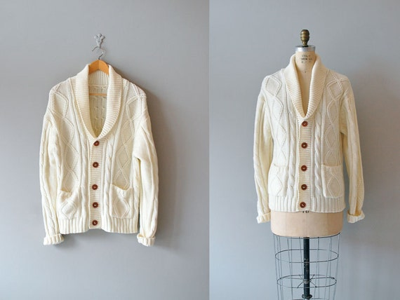 cable knit cardigan / fisherman's sweater / shawl collar cardigan