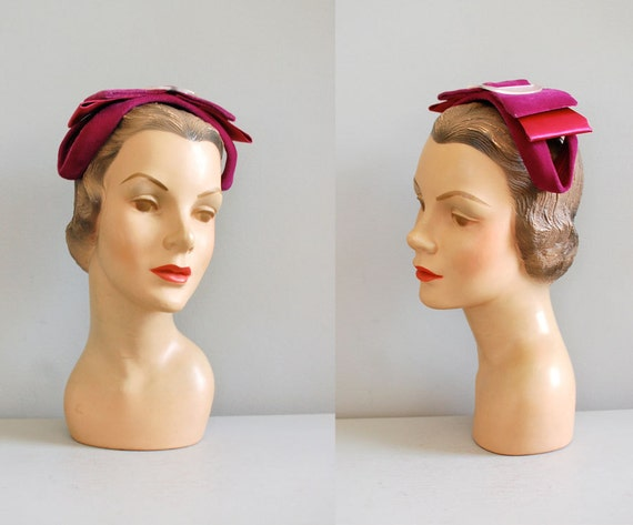 1950s hat / headband hat / 50s hat / Raspberry Bow