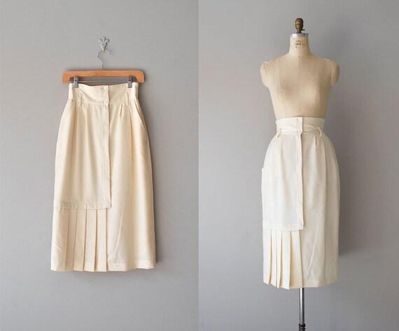 high waisted skirt / wool cream skirt / Blanched Almond skirt