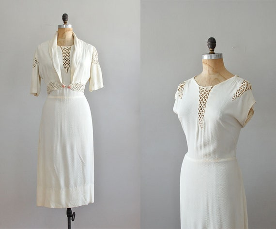 r e s e r v e d...1930s dress / 30s dress / Talc Soutache dress