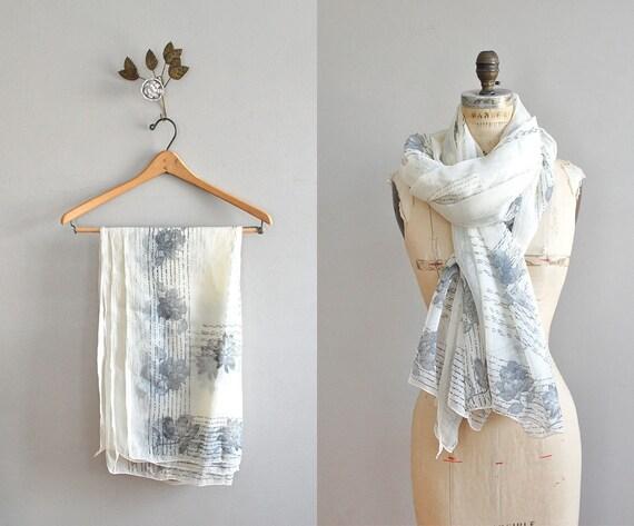 vintage scarf / silk scarf / sheer gray floral scarf