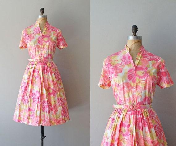 1950s dress / vintage 50s shirtdress / Pink Lemonade shirtwaist