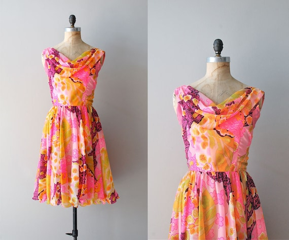 1960s dress / 60s dress / floral chiffon / Bon Viviant