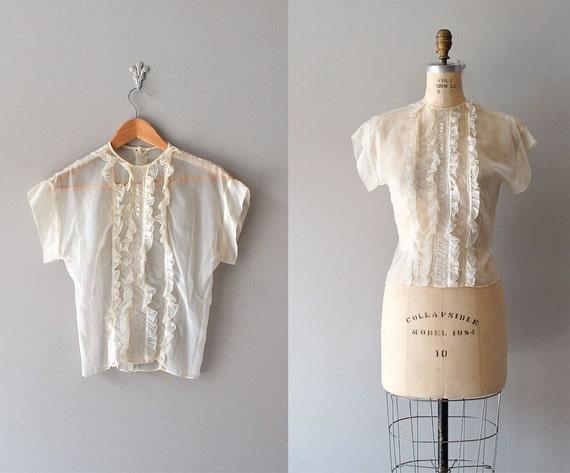 1950s blouse / sheer blouse / 50s ruffle blouse
