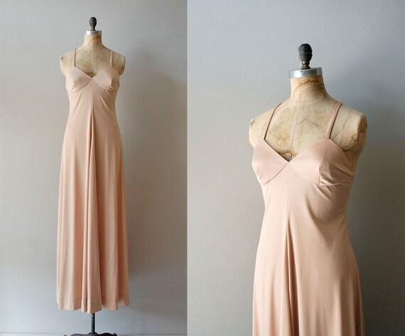 maxi dress / 70s long dress / Golden Nude