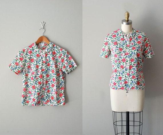 1950s blouse / floral print 50s blouse / peter pan collar