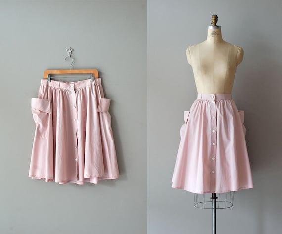 pink skirt / high waist skirt / Pink Pocket skirt