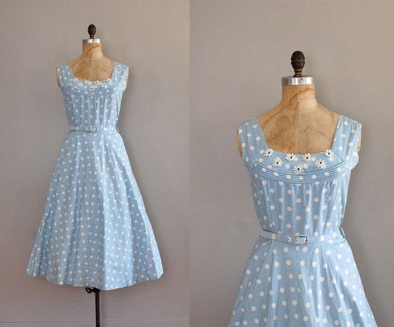 1950s dress / 50s dress / polka dot / Walking on Air