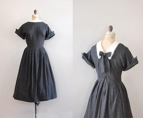 50s dress / gray wool dress / Amor Fati dress